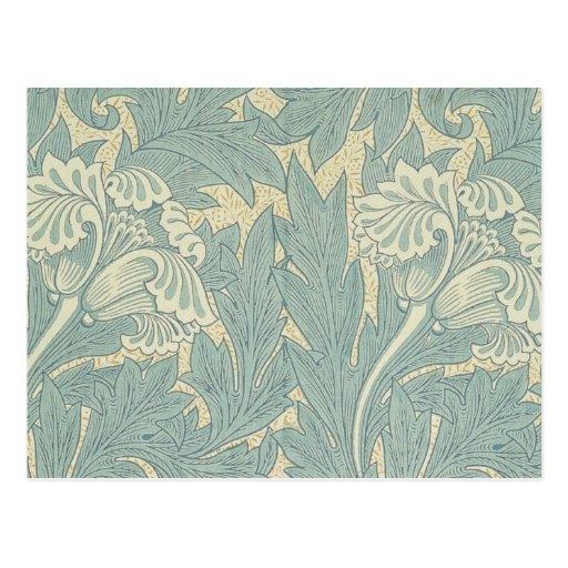 Vintage William Morris Tulip Floral Design Post Card
