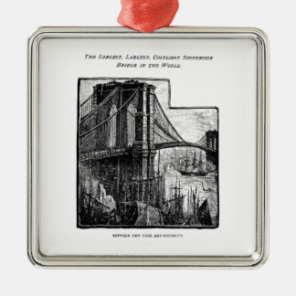 Vintage Williamsburg Brooklyn Bridge New York City Christmas Ornament
