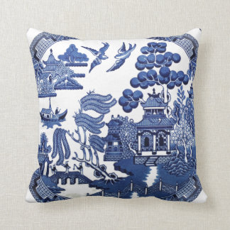 Vintage willow pattern cushion