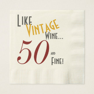 Vintage Wine, 50 and Fine Disposable Serviette