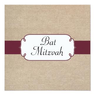 Vintage Wine and Beige Burlap Bat Mitzvah 13 Cm X 13 Cm Square Invitation Card