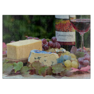 Vintage Wine and Cheese Glass Cutting Board