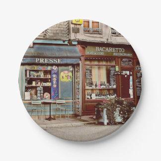 Vintage wine bar & restaurant in France 7 Inch Paper Plate