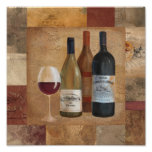 Vintage Wine Bottles and Wine Glass Poster