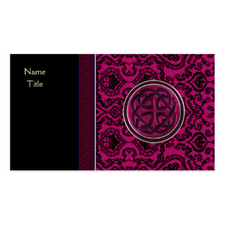 Vintage Wine Damask and Celtic Knot Sleeves Business Card Template