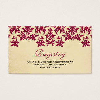 Vintage Wine Damask Wedding Registry Card