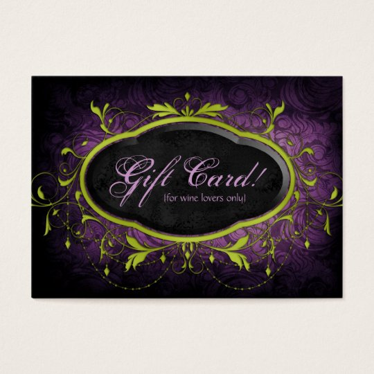Vintage Wine Gift Card Certificate Leaves Lime Pur