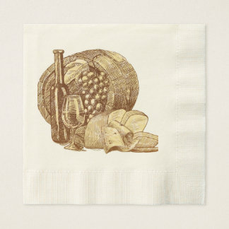Vintage, Wine, Vinyard, Beautiful, Custom Paper Napkins