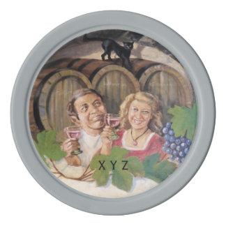 Vintage Winery custom monogram poker chips