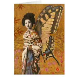 Vintage Winged Geisha Greetings Card