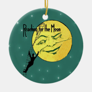 Vintage Winking Moon Man Ladder Reach for Moon Christmas Ornament