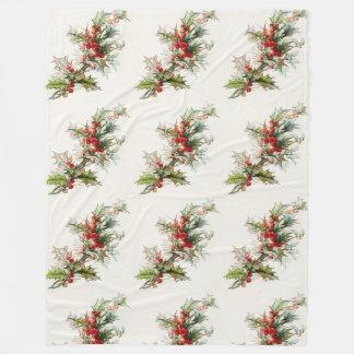 Vintage Winter Berries Fleece Blanket