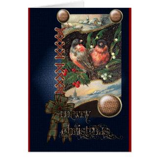 Vintage Winter birds Card