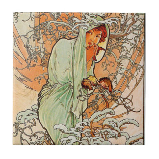Vintage Winter by Alphonse Mucha Tile
