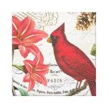 vintage winter cardinal canvas print