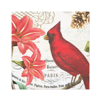 vintage winter cardinal canvas print