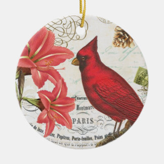 vintage winter cardinal christmas ornament