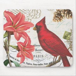 vintage winter cardinal mouse pads