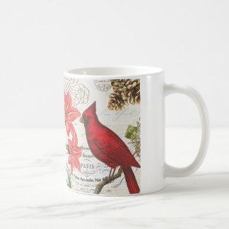 vintage winter cardinal mugs