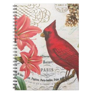 vintage winter cardinal spiral notebooks