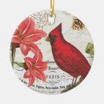 vintage winter cardinal round ceramic decoration