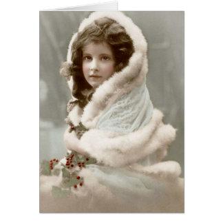 Vintage Winter Christmas Girl Card