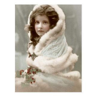 Vintage Winter Christmas Girl Postcard