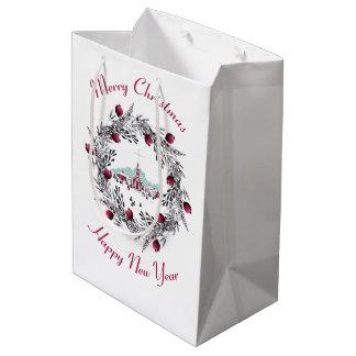 Vintage Winter Church Scene with Christmas Wreath Medium Gift Bag