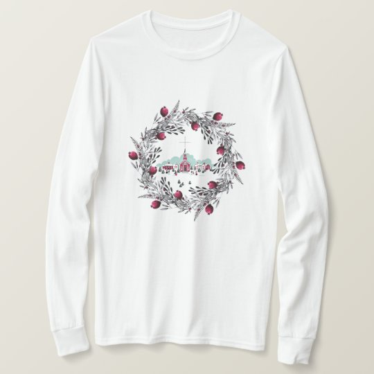 Vintage Winter Church Scene with Christmas Wreath T-Shirt