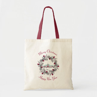 Vintage Winter Church Scene with Christmas Wreath Tote Bag