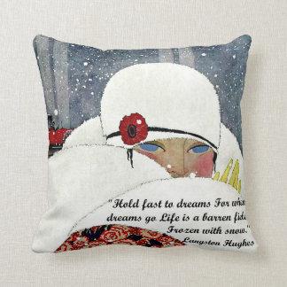 Vintage Winter Fashion Throw Pillow