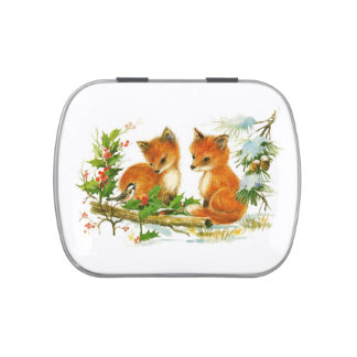 Vintage Winter Foxes Jelly Belly Candy Tins