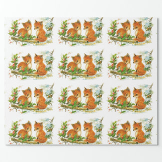 Vintage Winter Foxes Wrapping Paper