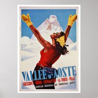 Vintage winter hiking Italian Alps travel Print