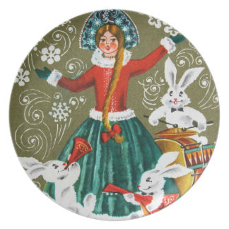 Vintage winter holiday plate