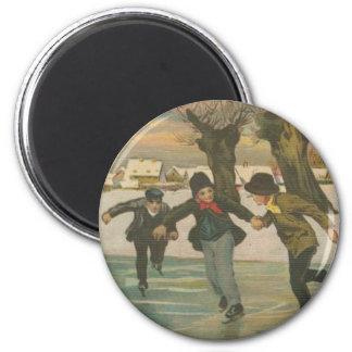 Vintage Winter Ice Skating Magnets
