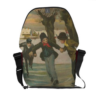 Vintage Winter Ice Skating Courier Bags