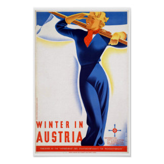 Vintage Winter in Austria Ski Travel Poster