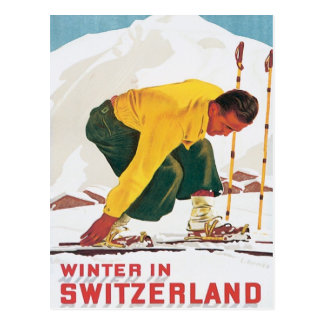 Vintage Winter In Switzerland Postcard