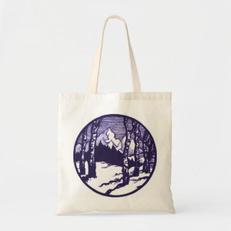 Vintage Winter Mountain Scene Etching Budget Tote Bag