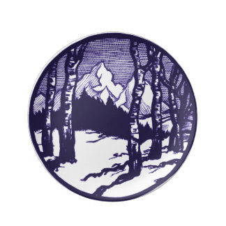 Vintage Winter Mountain Scene Etching Plate
