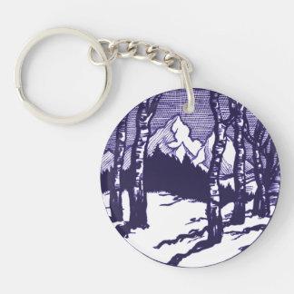 Vintage Winter Mountain Scene Etching Single-Sided Round Acrylic Key Ring
