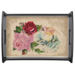Vintage Winter RosesTray Serving Platter