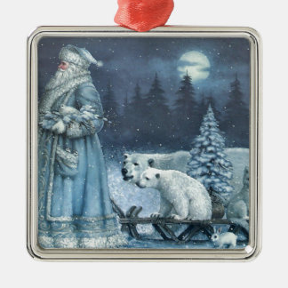 Vintage Winter Santa With Polar Bears Silver-Colored Square Decoration