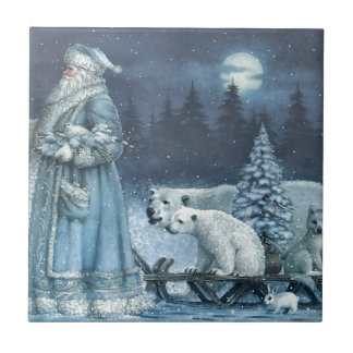 Vintage Winter Santa With Polar Bears Tile