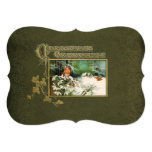 """Vintage Winter Scene and Christmas Greeting 5"""" X 7"""" Invitation Card"""