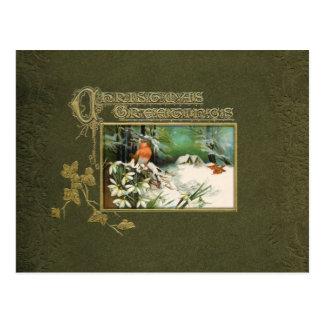 Vintage Winter Scene and Christmas Greeting Postcard