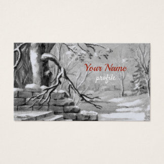 vintage winter  scene -black&white business card