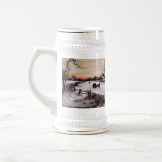 Vintage Winter Scene. Christmas Gift  Beer Mug