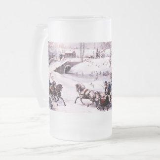 Vintage Winter Scene. Christmas Gift Mug